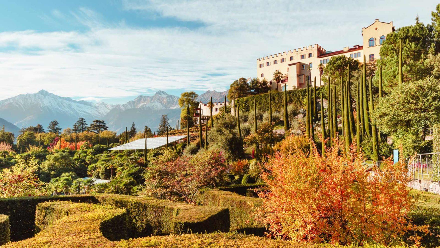 Die Gärten von Schloss Trauttmansdorff in der Jahreszeit Herbst