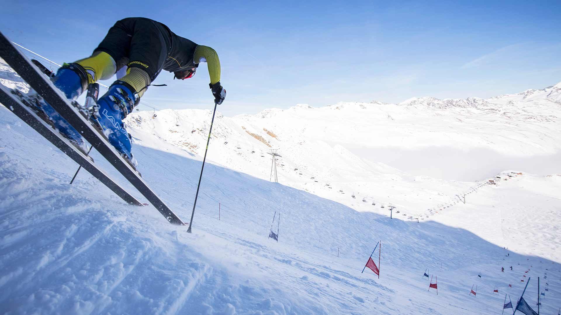 Skifahren am Gletscher im Schnalstal